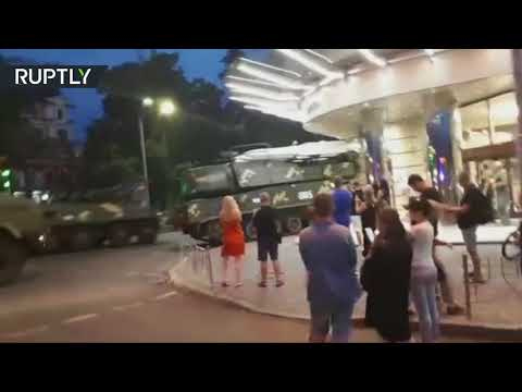RAW: Moment Buk Missile Launcher Slams Into Building In Kiev