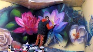 Video Lotus flowers  &  Butterflying dandelion /airbrush mural MP3, 3GP, MP4, WEBM, AVI, FLV Desember 2018