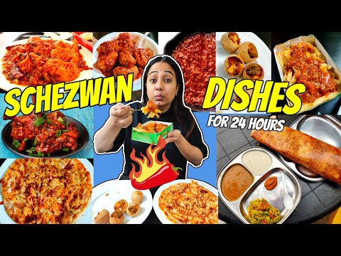 I only ate SCHEZWAN Dishes For 24 Hours  Food challenge  Eating different types of Schezwan dishes