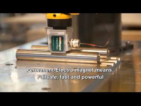 PICKNPLACE - DocMagnet designers and manufacturers of permanent-electro and permanent magnetic material handling systems demonstrate their pick and place magnet. The pick...