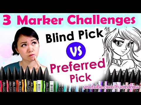 3 MARKER CHALLENGE Art Video - Blind VS Preferred Pick BrushMarkers! | Mei Yu