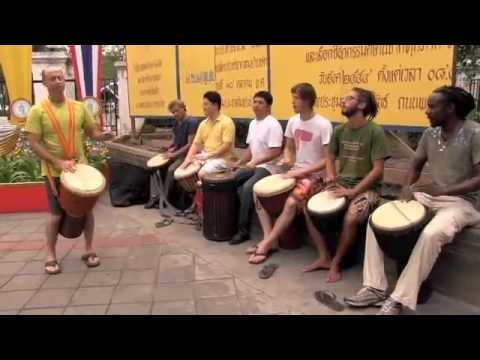 Bangkok djembe and West African drum jam in Banjasari Park with friends from around the world!