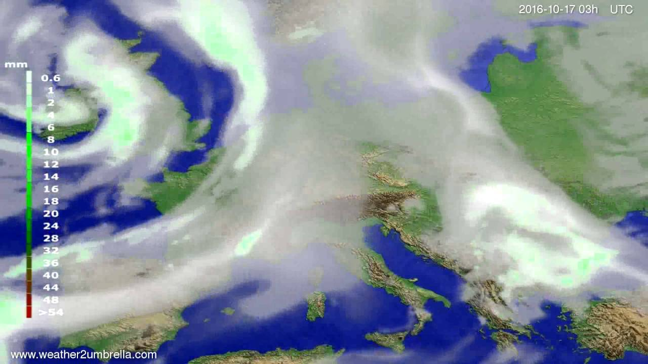 Precipitation forecast Europe 2016-10-14
