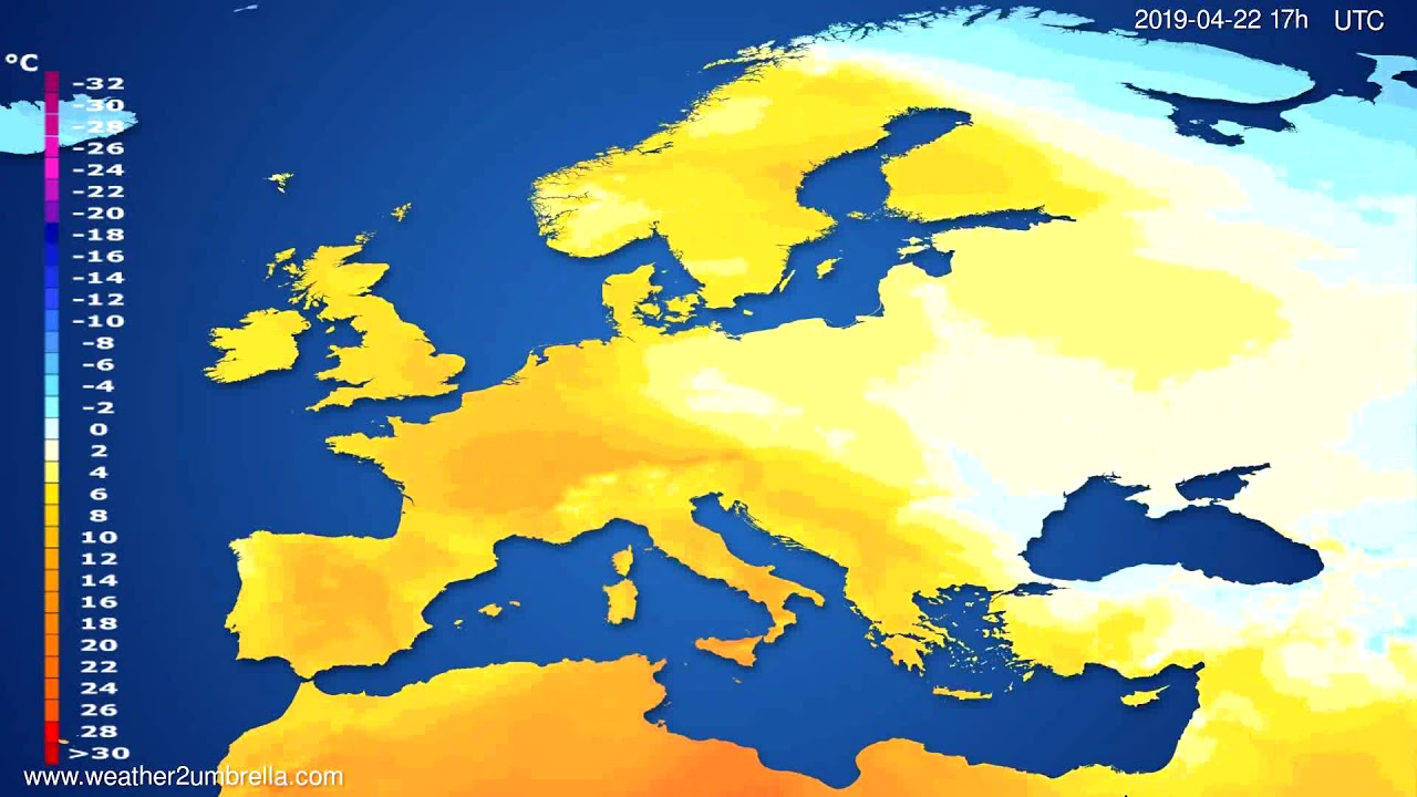 Temperature forecast Europe // modelrun: 12h UTC 2019-04-20