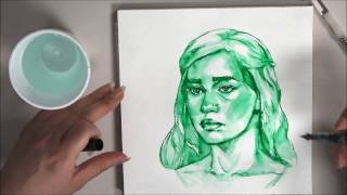 """Speed """"paint"""" of Daenerys Targaryen from Game of Thrones using a Pilot Varsity Disposable Fountain Pen, Fluid watercolor..."""