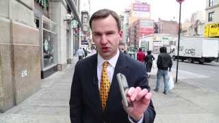 Local news gone wrong on 14th Street in Manhattan.