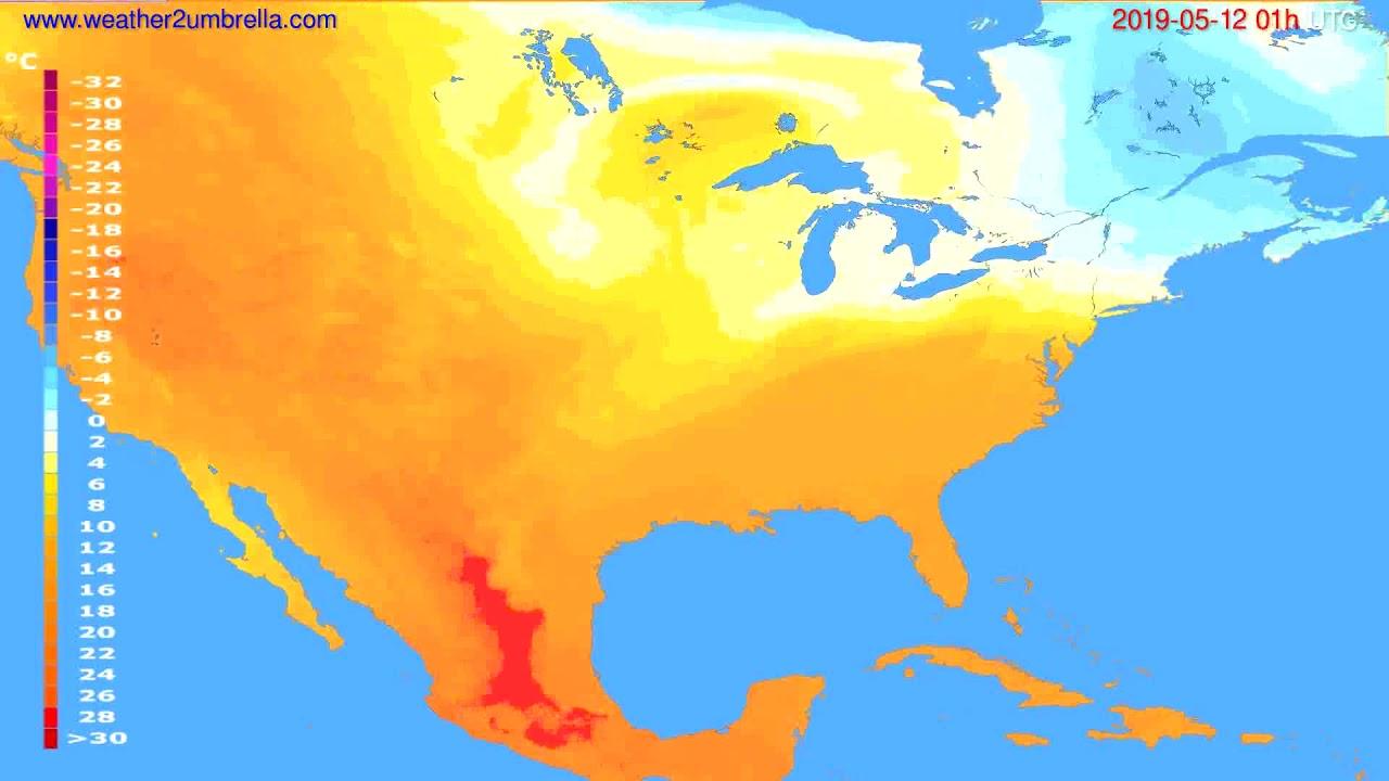Temperature forecast USA & Canada // modelrun: 00h UTC 2019-05-10