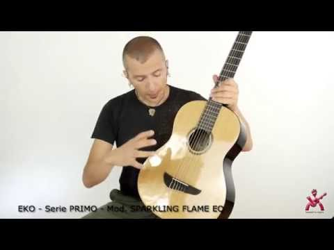 Massimo Varini presenta Eko Guitars serie PRIMO Sparkling Flame EQ chitarra classica amplificata