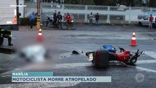 Em Marília motociclista morre após derrapar na pista e bater em caminhão