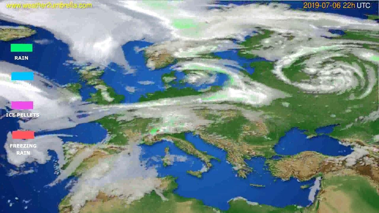 Precipitation forecast Europe // modelrun: 00h UTC 2019-07-04