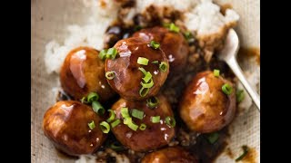 Plump juicy chicken meatballs smothered in my mother's homemade real-deal Japanese Teriyaki Sauce! http://www.recipetineats.com/teriyaki-chicken-meatballs/