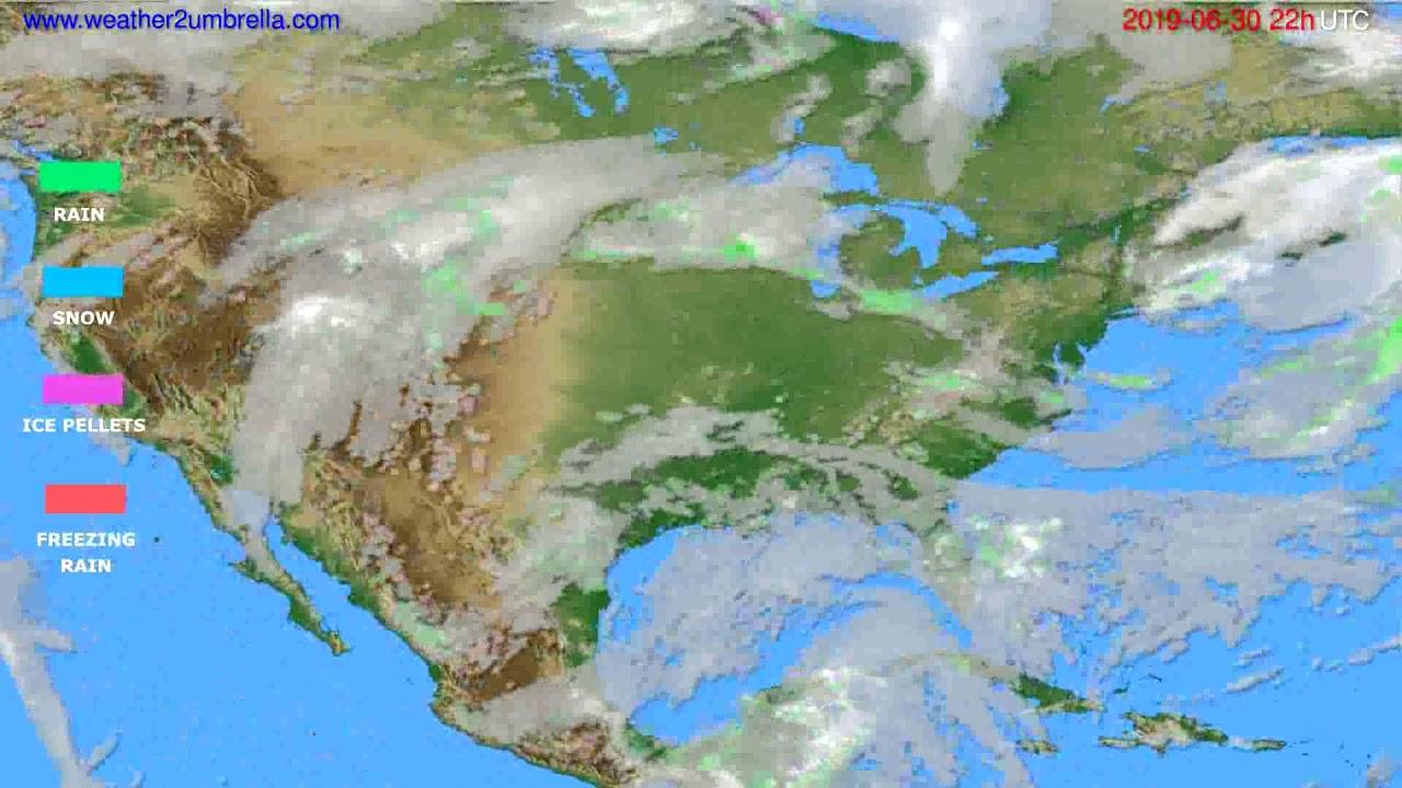 Precipitation forecast USA & Canada // modelrun: 00h UTC 2019-06-28