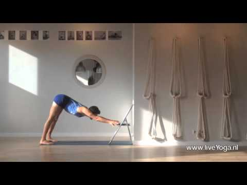 Iyengar yoga practice – Using a chair in dog poses practice