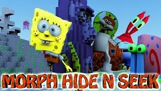 Minecraft | MORPH HIDE AND SEEK - SPONGEBOB MOD! (Spongebob, Patrick, Squidward)