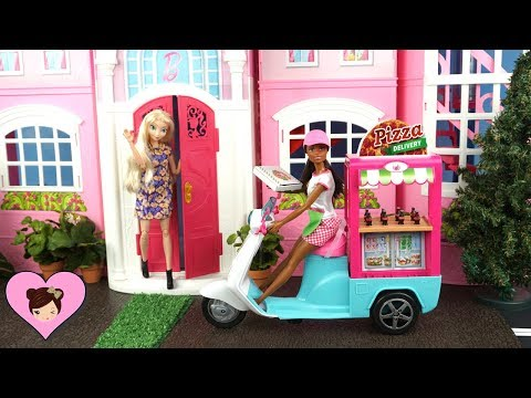 Barbie Doll Pizza Delivery to Frozen Elsa Dollhouse - Barbie Pizza Chef Playset