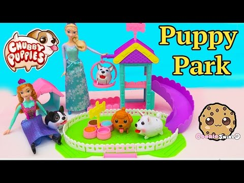 Dog Park with Disney Frozen Queen Elsa & Princess Anna's 4 Chubby Puppies - Toy Unboxing Video (видео)