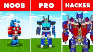 Minecraft NOOB vs. PRO vs. HACKER : TRANSFORMER MINECRAFT BUILD CHALLENGE in Minecraft!