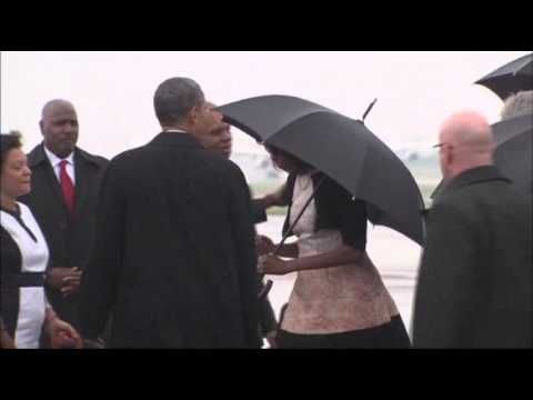 president - President Barack Obama arrived in South Africa on Tuesday for former South African President Nelson Mandela's memorial. (Dec. 10)