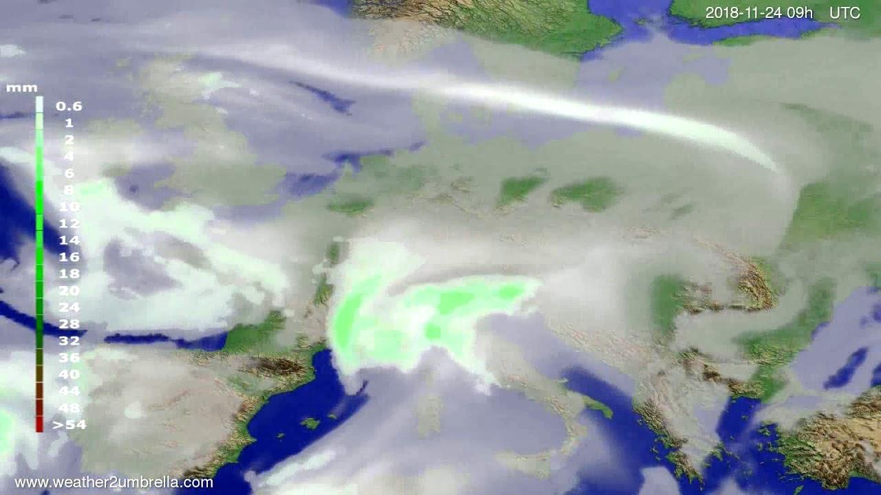 Precipitation forecast Europe 2018-11-20