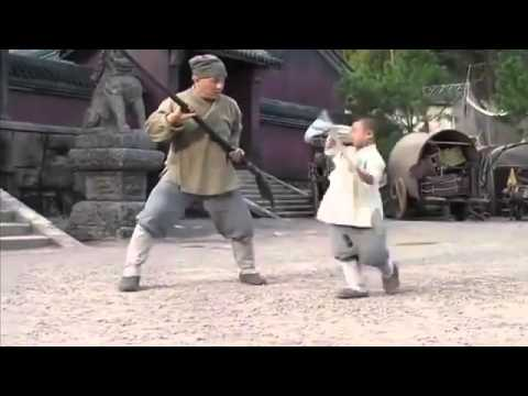 Jackie Chan learning Shaolin staff techniques from a kid