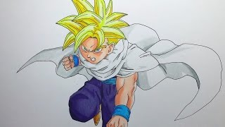 """SUBSCRIBE: https://goo.gl/7rRQe5 Speed drawing of teen Gohan Super Saiyajin from Cell Saga, hope you like it!Background Music """" Eighties in action"""" fromRoyalty free music http://www.incompetench.com"""