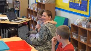 After deployment in Kuwait, 1LT Fawn Heitman, U.S. Army Reserves, returned on Wednesday, April 29, 2015, to surprise her daughter, Morgan Heitman, 8, in her ...