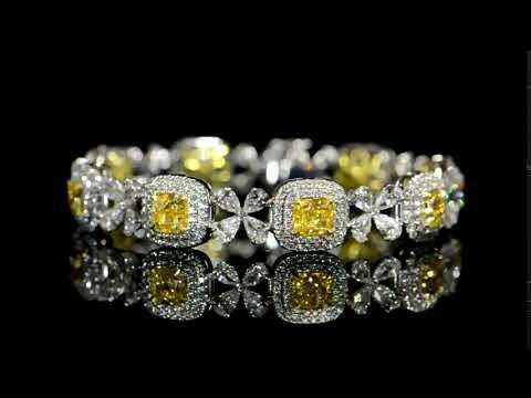 GIA Certified 10.43ct (TDW) Cushion Cut 'Internally Flawless' Fancy Yellow Diamonds Bracelet