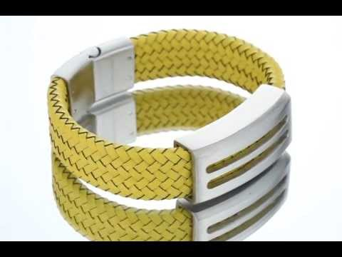 Mens Modern Yellow Woven Leather and Stainless Steel Bracelet SB4148 by Peora Jewelry