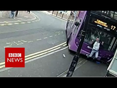 CCTV footage shows man hit by bus in Reading