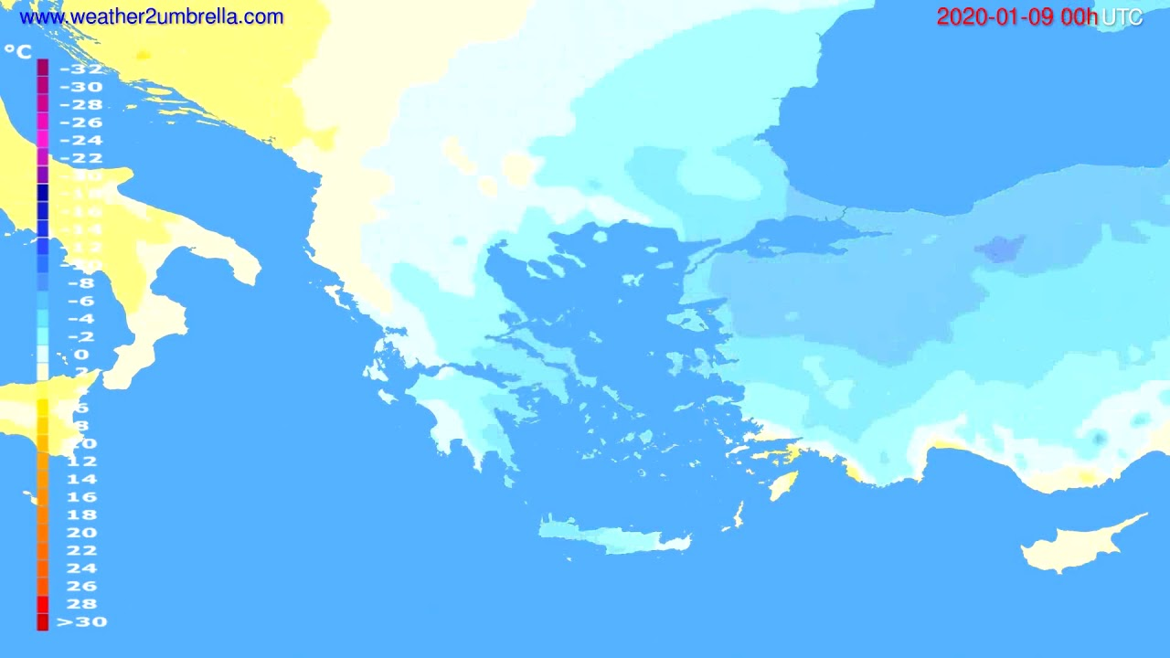 Temperature forecast Greece // modelrun: 00h UTC 2020-01-08