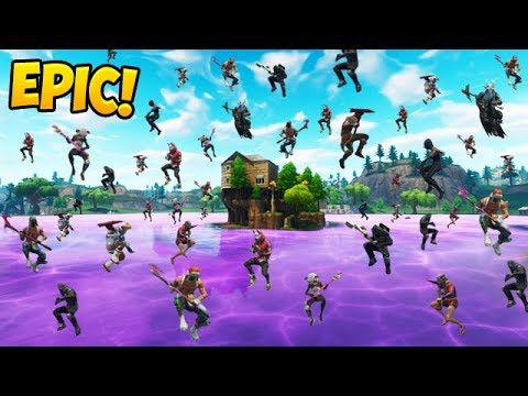 *100 PLAYERS* LAND NEW LOOT LAKE! - Fortnite Funny Fails and WTF Moments! _328