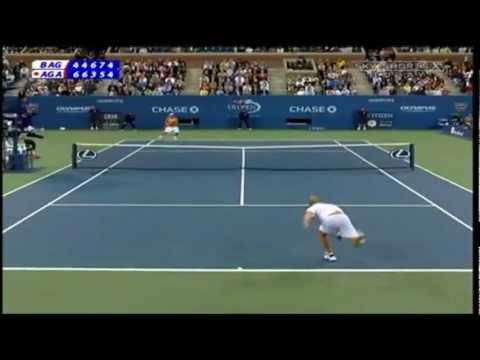 Andre Agassi winning two-handed backhand shots