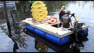 Video My $200 Homemade Pontoon Boat (55 Gallon Drums) MP3, 3GP, MP4, WEBM, AVI, FLV Juli 2019