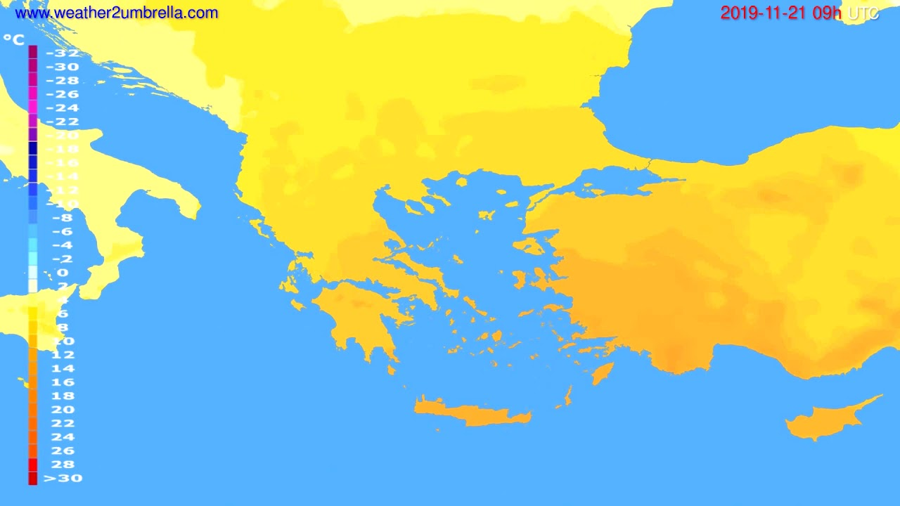 Temperature forecast Greece // modelrun: 12h UTC 2019-11-19