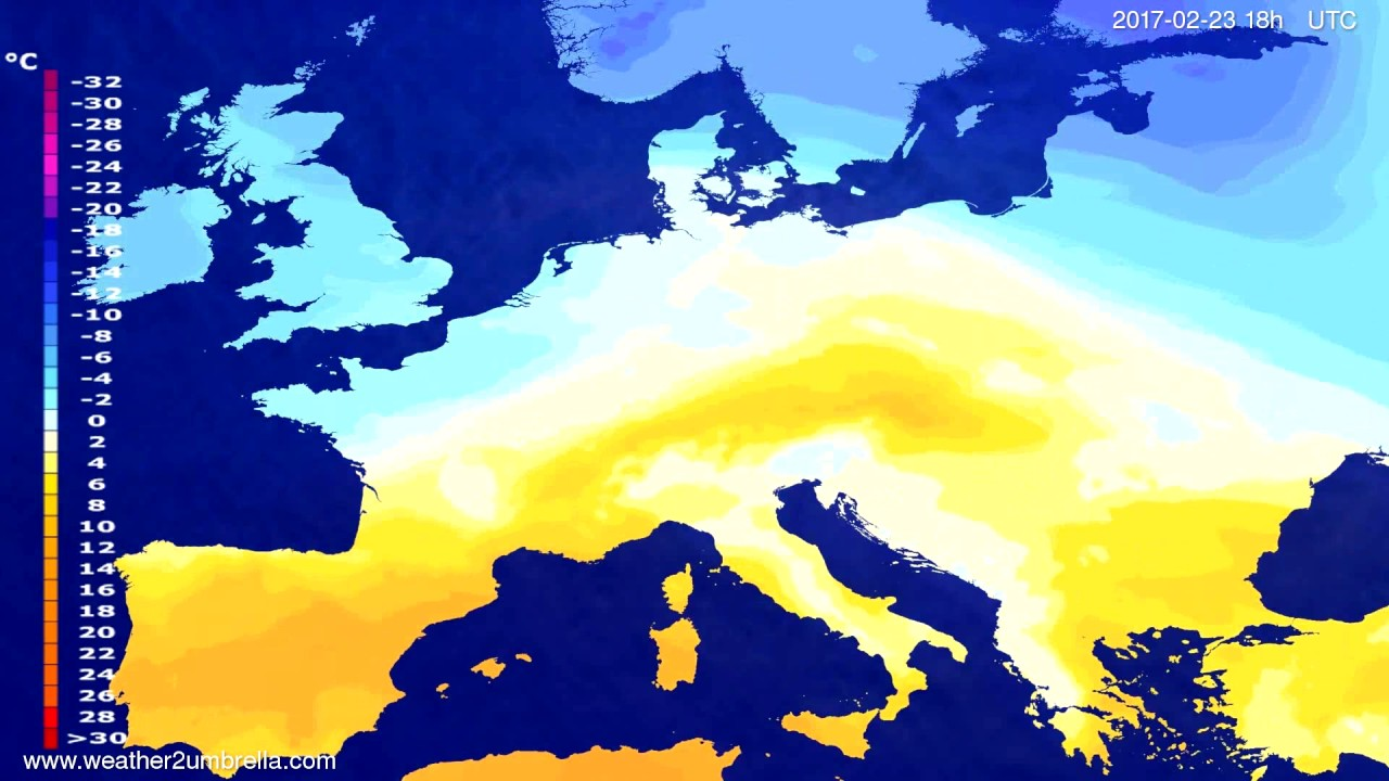 Temperature forecast Europe 2017-02-20