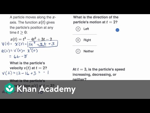 Worked Example Motion Problems With Derivatives Video