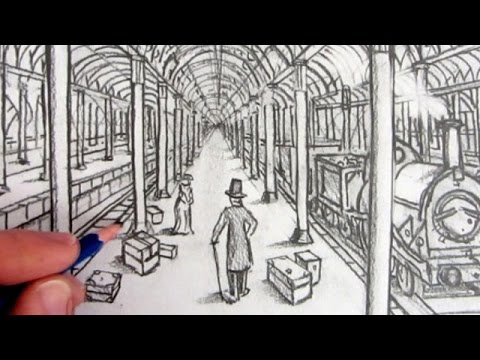 How to Draw a Victorian Railway Station in One-Point Perspective