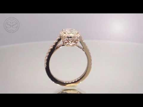Rose Gold Cushion Cut Halo Engagement Ring