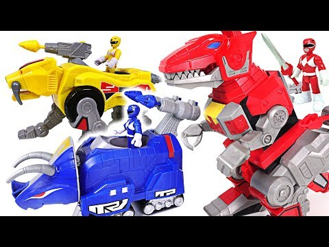 Giant centipede appeared in Tayo town! Go! Power Rangers red, yellow, blue dinosaur! - DuDuPopTOY