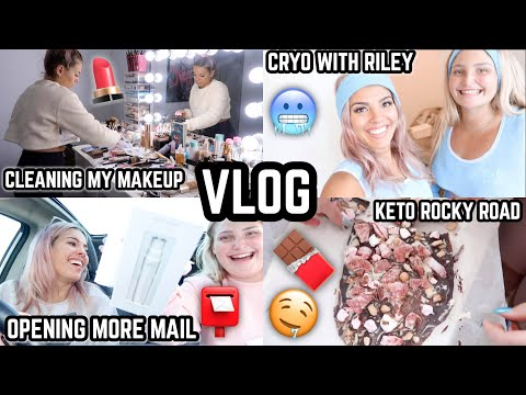 VLOG 🎥 CRYO WITH RILEY ❄️ FINALLY CLEANING MY MAKEUP + BRUSHES 💄MAKING KETO ROCKY ROAD 😍 JAZ HAND