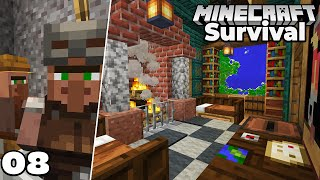 Let's Play Minecraft Survival : MapRoom Interior and Zombie VILLAGERS! Episode 8