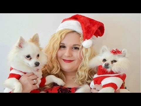 Funny dogs congratulates  merry cristmas and new year!