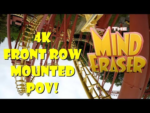 The Mind Eraser 4K MOUNTED FRONT ROW POV Six Flags America! (видео)
