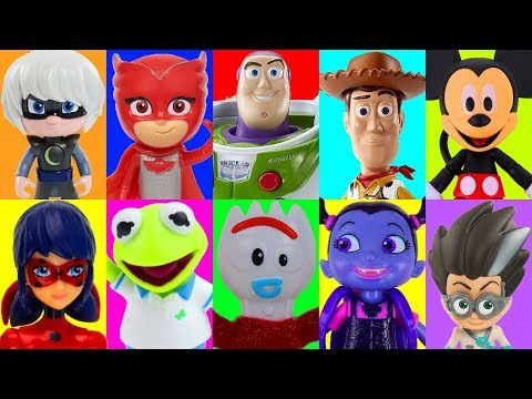 PJ Masks Slime Game - Learn Characters with Toy Story 4 Toys and Disney Junior Toys Characters