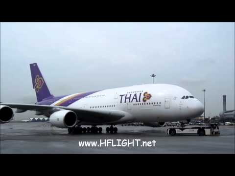 Thai Airways International First Airbus A380 delivery flight landing in Bangkok