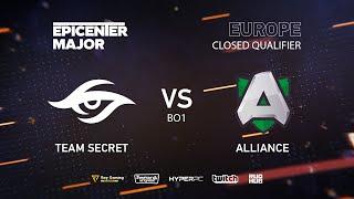 Team Secret vs Alliance, EPICENTER Major 2019 EU Closed Quals , bo1 [Mila]