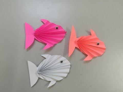 عمل سمكة بالورق الملون للاطفال - make a paper a fish - اشغال يدوية
