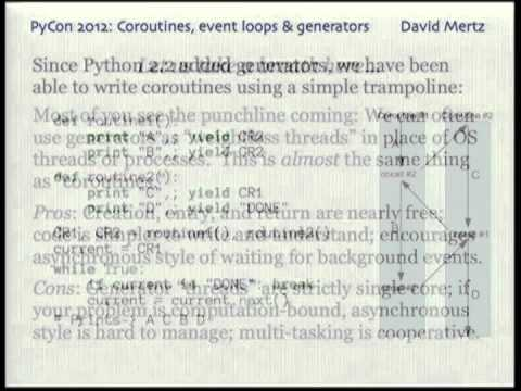 Image from Coroutines, event loops, and the history of Python generators