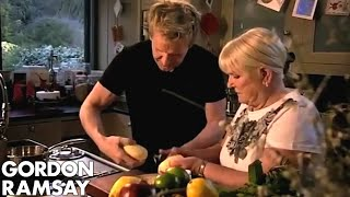 Gordon Ramsay and his mother prepare a twist on traditional roast potatoes for the Christmas feast. Subscribe for weekly videos.