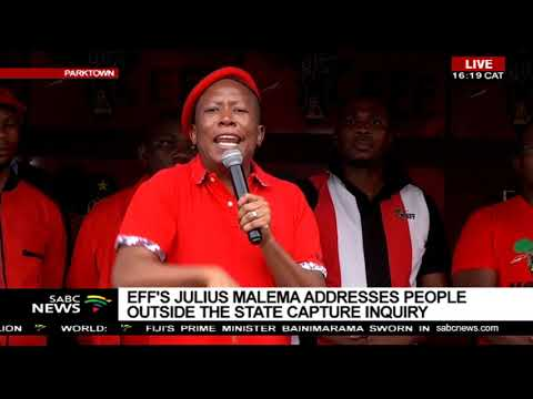 Malema Addresses Eff Supporters Outside State Capture Inquiry